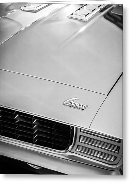 1969 Greeting Cards - 1969 Chevrolet Camaro 396 RS SS L89 Hood Emblem Greeting Card by Jill Reger