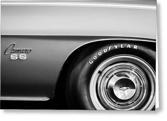 Chevrolet Camaro 396 Greeting Cards - 1969 Chevrolet Camaro 396 RS SS L89 Side Emblem Greeting Card by Jill Reger