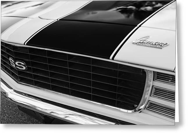 Indy Car Greeting Cards - 1969 Chevrolet Camaro RS-SS Indy Pace Car Replica Grille - Hood Emblems Greeting Card by Jill Reger
