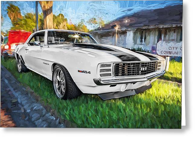 Red Street Rod Greeting Cards - 1969 Chevy Camaro RS Painted  Greeting Card by Rich Franco
