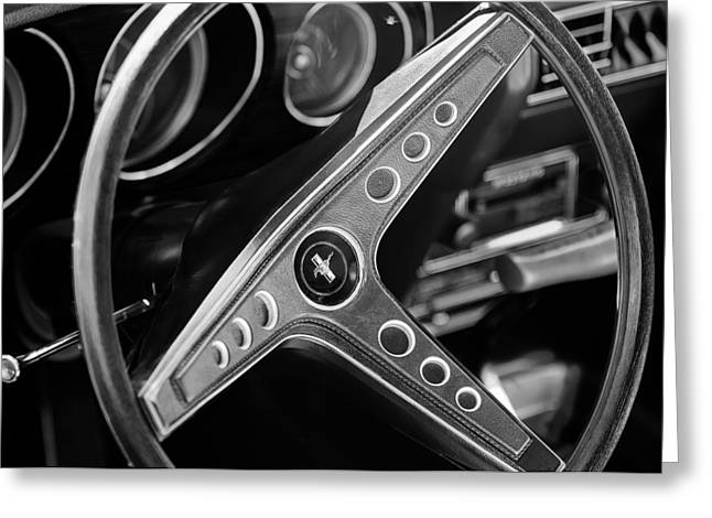 Steering Greeting Cards - 1969 Ford Mustang Mach 1 Steering Wheel Emblem Greeting Card by Jill Reger