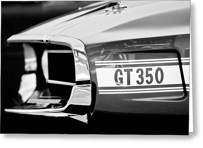 Mustang Gt350 Greeting Cards - 1969 Ford Mustang Shelby GT350 Grille Emblem Greeting Card by Jill Reger