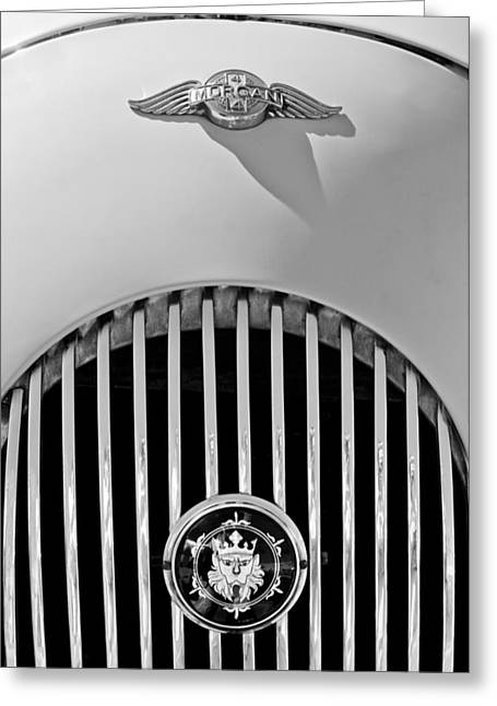 1969 Morgan Roadster Grille Emblems Greeting Card by Jill Reger