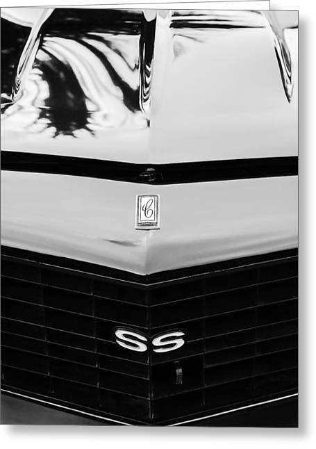 Pro Sports Greeting Cards - 1970 Chevrolet Camaro Pro Touring Grille - Hood Emblems Greeting Card by Jill Reger