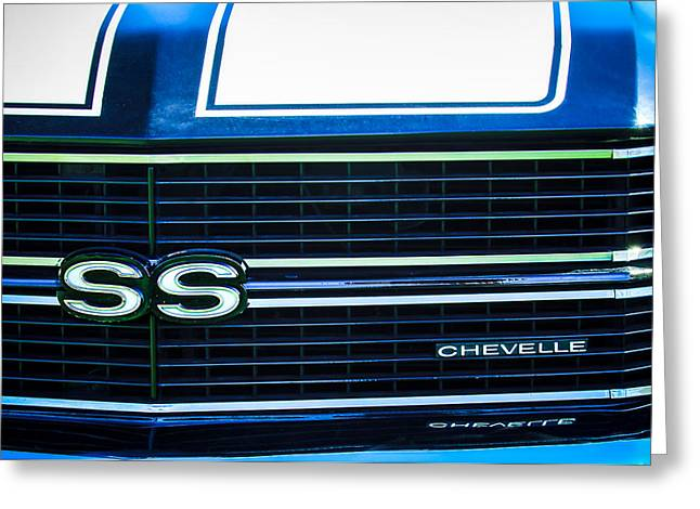 American Muscle Car Greeting Cards - 1970 Chevrolet Chevelle SS Grille Emblem Greeting Card by Jill Reger