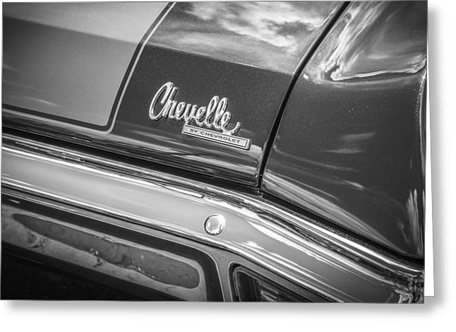 V8 Chevelle Greeting Cards - 1970 Chevy Chevelle 454 SS BW  Greeting Card by Rich Franco