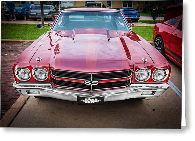 V8 Chevelle Greeting Cards - 1970 Chevy Chevelle 454 SS Painted  Greeting Card by Rich Franco