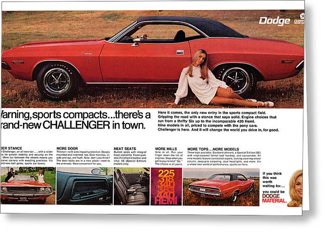 Dragway Greeting Cards - 1970 Dodge Challenger Greeting Card by Digital Repro Depot