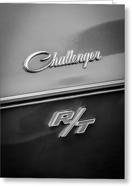 Challenger Greeting Cards - 1970 Dodge Challenger RT Convertible Emblem Greeting Card by Jill Reger