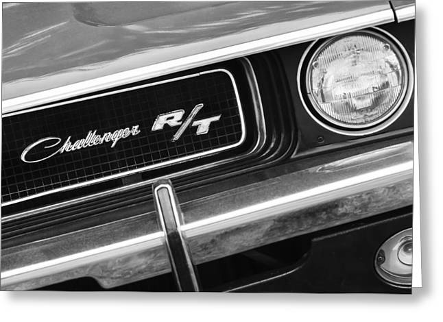 Best Images Photographs Greeting Cards - 1970 Dodge Challenger RT Convertible Grille Emblem Greeting Card by Jill Reger
