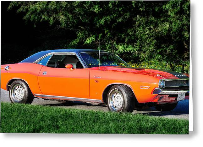 Mopar Greeting Cards - 1970 Dodge Challenger RT  Greeting Card by Thomas Schoeller