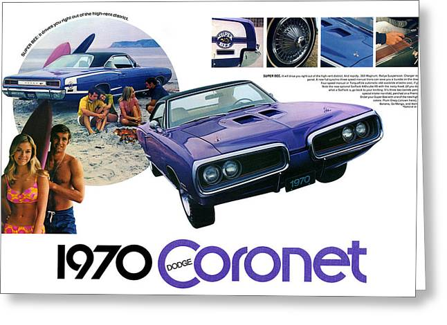 Dodge Coronet Super Bee Greeting Cards - 1970 Dodge Coronet Super Bee Greeting Card by Digital Repro Depot