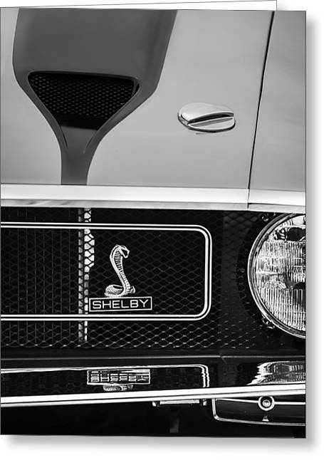 Mustang Gt350 Greeting Cards - 1970 Ford Mustang GT350 Replica Grille Emblem Greeting Card by Jill Reger