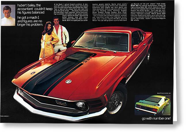 8 Track Player Greeting Cards - 1970 Ford Mustang Mach 1 Greeting Card by Digital Repro Depot