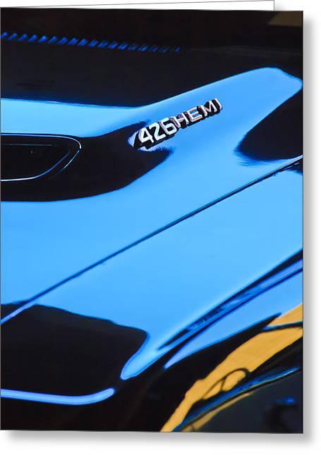 Hemi Greeting Cards - 1971 Dodge 426 Hemi Challenger RT Hood Emblem Greeting Card by Jill Reger