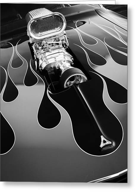 440 Greeting Cards - 1971 Dodge Challenger 440 Hot Rod Engine Greeting Card by Jill Reger