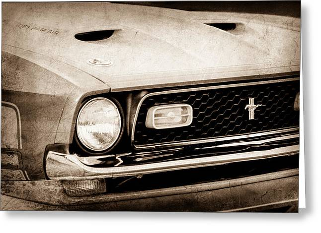 1971 Greeting Cards - 1971 Ford Mustang Boss 351 Cleveland Grille Greeting Card by Jill Reger