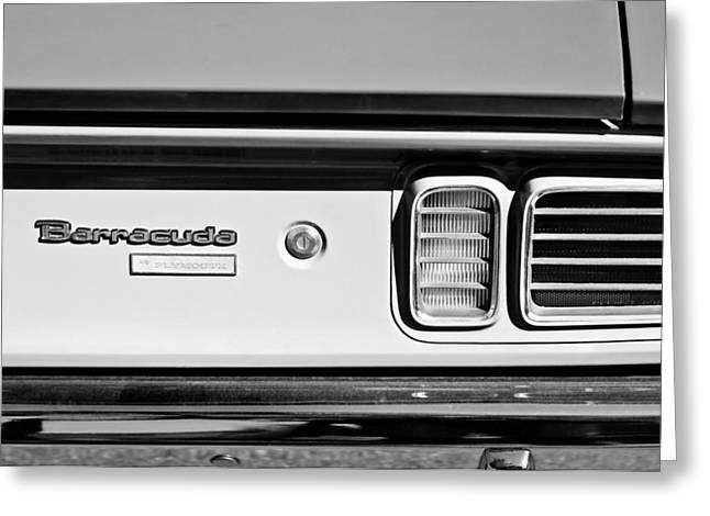 Cuda Greeting Cards - 1971 Plymouth Barracuda Convertible 318 Ci Taillight Emblem Greeting Card by Jill Reger
