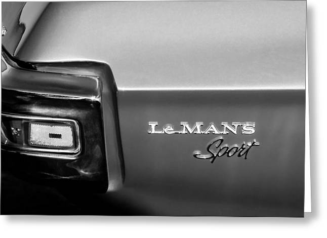 Leman Greeting Cards - 1971 Pontiac LeMans Sport Taillight Emblem Greeting Card by Jill Reger
