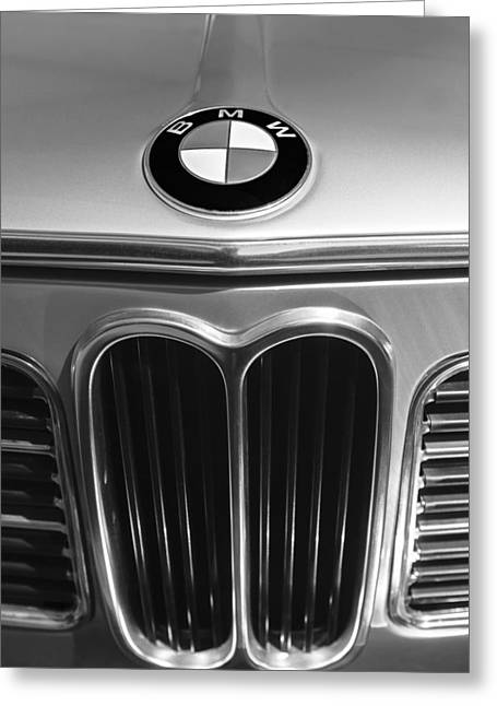 Touring Car Greeting Cards - 1972 BMW 2000 TII Touring Grille Emblem Greeting Card by Jill Reger
