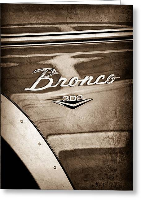 Broncos Greeting Cards - 1972 Ford Bronco Emblem Greeting Card by Jill Reger