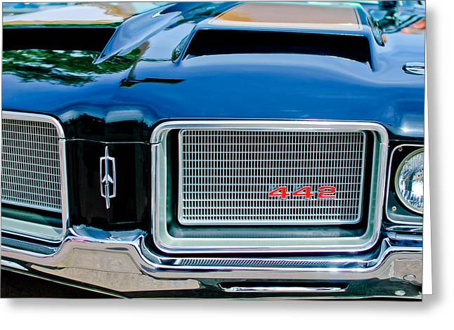 Famous Photographer Greeting Cards - 1972 Oldsmobile 442 Grille Emblem Greeting Card by Jill Reger