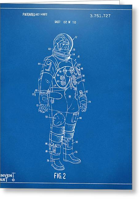 Science Fiction Greeting Cards - 1973 Astronaut Space Suit Patent Artwork - Blueprint Greeting Card by Nikki Marie Smith