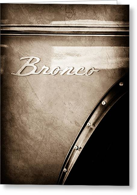 Broncos Greeting Cards - 1973 Ford Bronco Custom 2 Door Emblem Greeting Card by Jill Reger