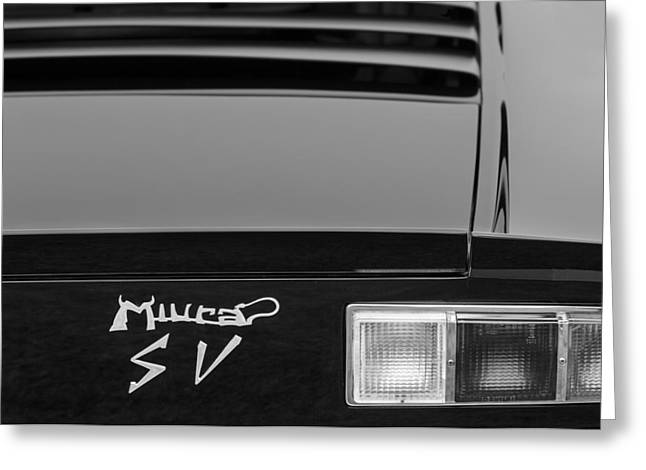 D.w Greeting Cards - 1973 Lamborghini Miura SV Berlinetta Taillight Emblem Greeting Card by Jill Reger