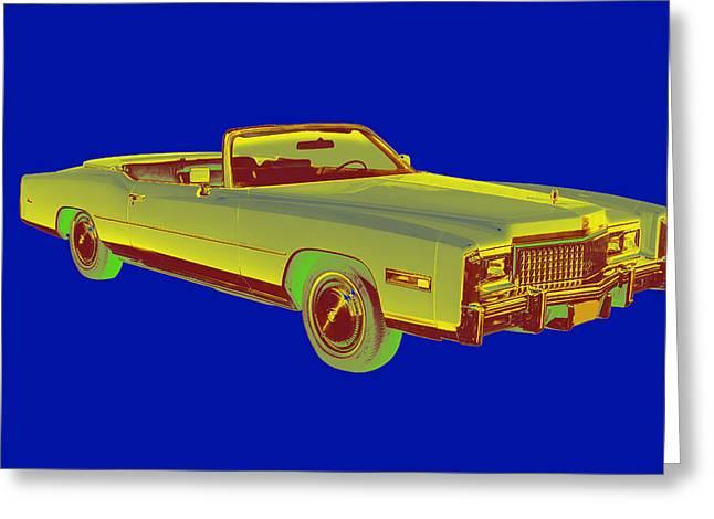 Stylish Car Greeting Cards - 1975 Cadillac Eldorado Convertible Pop Art Greeting Card by Keith Webber Jr