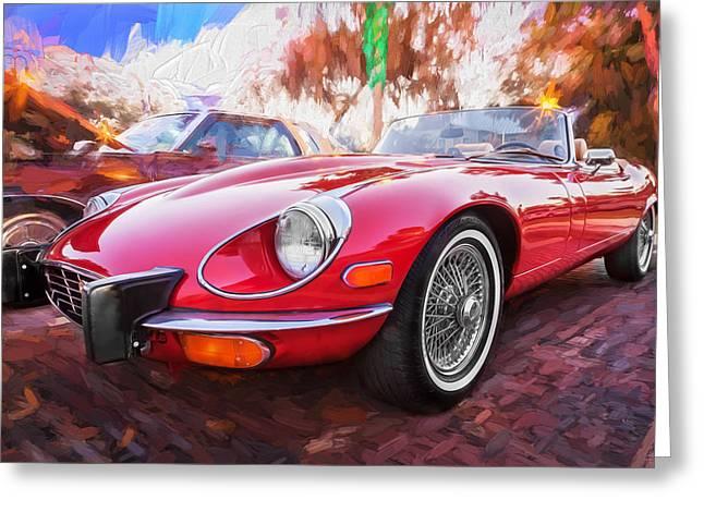 Gran Jaguar Greeting Cards - 1975 Jaguar XKE V12 Convertible Painted  Greeting Card by Rich Franco
