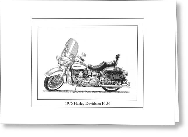 Pen And Ink Framed Prints Greeting Cards - 1976 Harley Davidson FLN Greeting Card by Jack Pumphrey