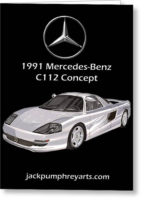 Creating Mixed Media Greeting Cards - 1991 Mercedes Benz C 112 Concept Greeting Card by Jack Pumphrey