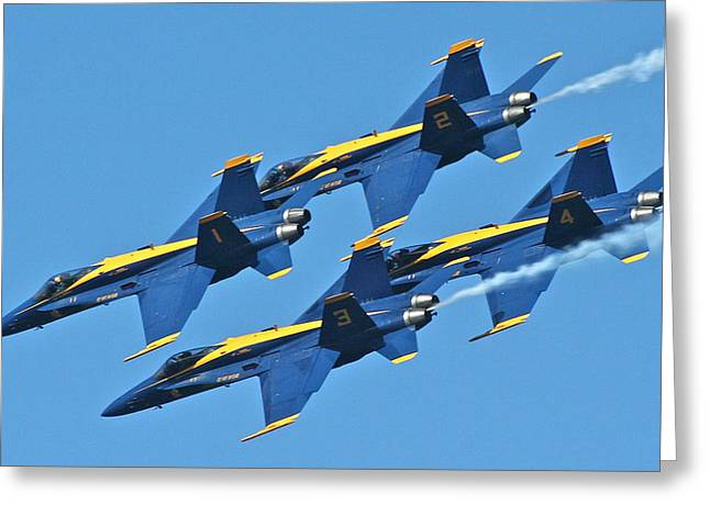 Jet Pyrography Greeting Cards - 1-2-3-4 Blue Angels Greeting Card by DUG Harpster