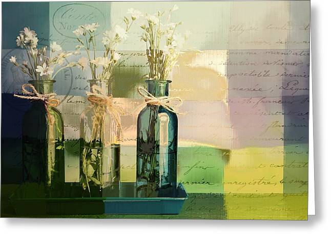 Glass Bottle Greeting Cards - 1-2-3 Bottles - j091112137 Greeting Card by Variance Collections