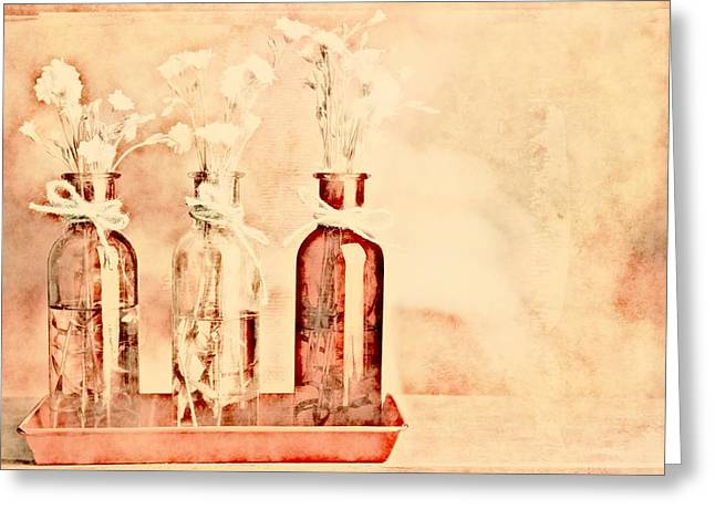 Ivory Art Greeting Cards - 1-2-3 Bottles - r9t2b Greeting Card by Variance Collections