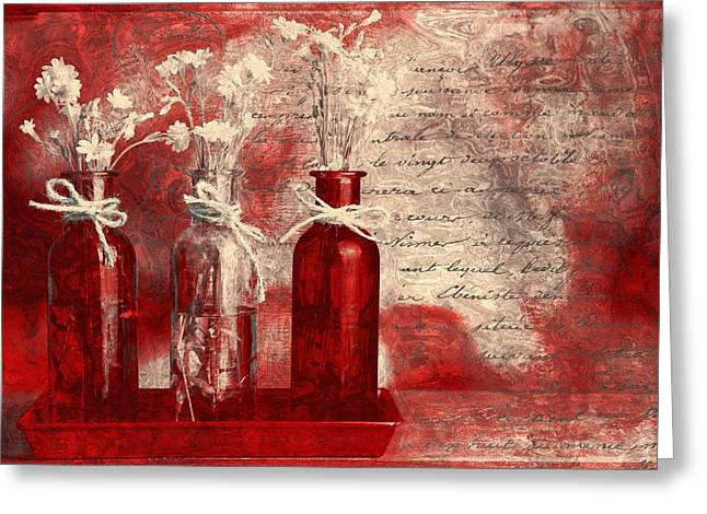 Glass Bottle Greeting Cards - 1-2-3 Bottles - rd2vt2b Greeting Card by Variance Collections
