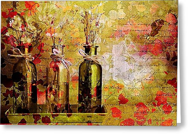 Flower Still Life Greeting Cards - 1-2-3 Bottles - s12a203 Greeting Card by Variance Collections