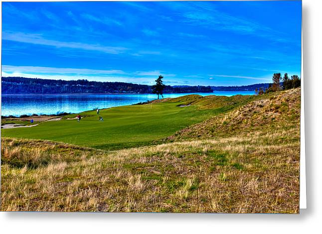 Us Open Greeting Cards - #2 at Chambers Bay Golf Course - Location of the 2015 U.S. Open Championship Greeting Card by David Patterson