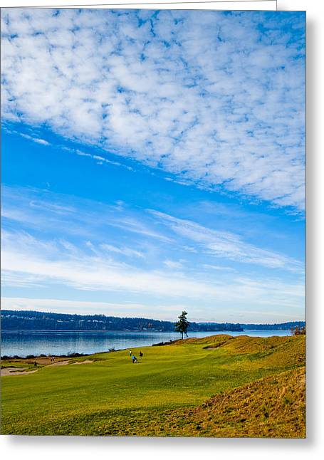 Us Open Greeting Cards - #2 at Chambers Bay Golf Course - Location of the 2015 U.S. Open Tournament Greeting Card by David Patterson