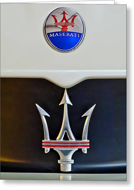 Car Photographers Greeting Cards - 2005 Maserati MC12 Hood Emblem Greeting Card by Jill Reger