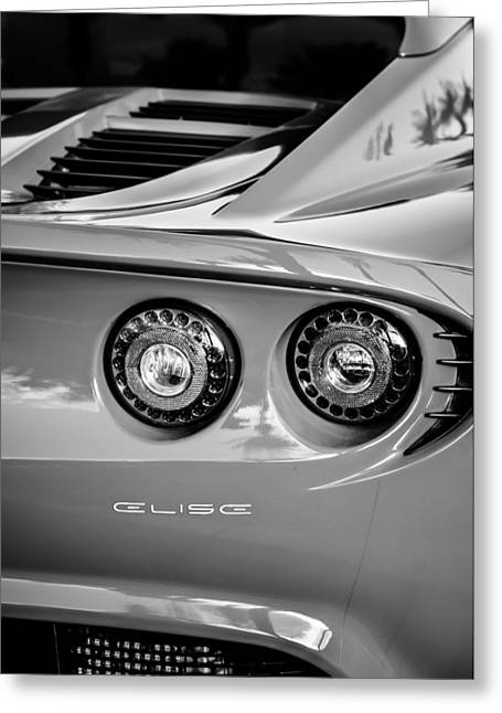 2006 Greeting Cards - 2006 Lotus Elise Taillight Emblem-0064bw Greeting Card by Jill Reger