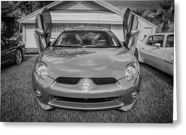 Special Edition Greeting Cards - 2006 Mitsubishi Eclipse GT V6 Painted BW Greeting Card by Rich Franco