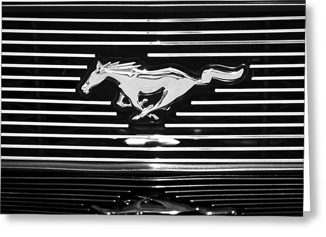 American Muscle Car Greeting Cards - 2007 Ford Mustang Grille Emblem Greeting Card by Jill Reger