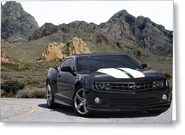 Las Cruces New Mexico Digital Art Greeting Cards - 2010 Camaro R S S in the Organ Mountains Greeting Card by Jack Pumphrey