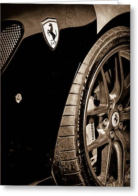 2011 Greeting Cards - 2011 Ferrari 599 GTO Emblem - Wheel Greeting Card by Jill Reger