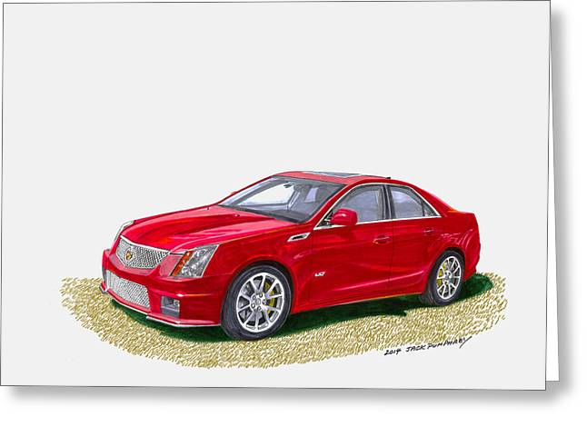 Transmission Drawings Greeting Cards - 2013 Cadillac C T S  V Greeting Card by Jack Pumphrey