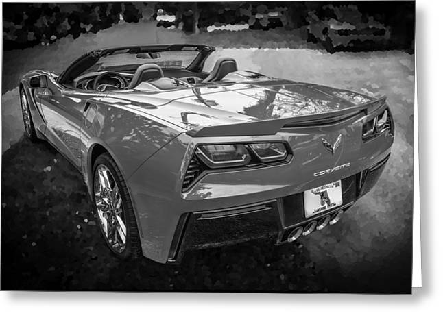 Transmission Greeting Cards - 2014 Chevrolet Corvette C7 BW  Greeting Card by Rich Franco