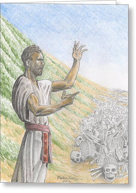 Ezekiel Greeting Cards - 217 Ezekiel and the valley of Dried Bones Featured Greeting Card by James Robinson