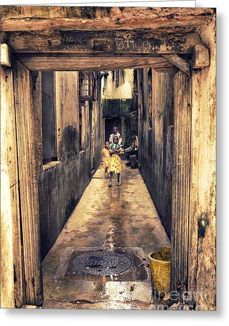 Teen Town Greeting Cards - Kids Playing Stone Town Alley Zanzibar Greeting Card by Nasser Studios
